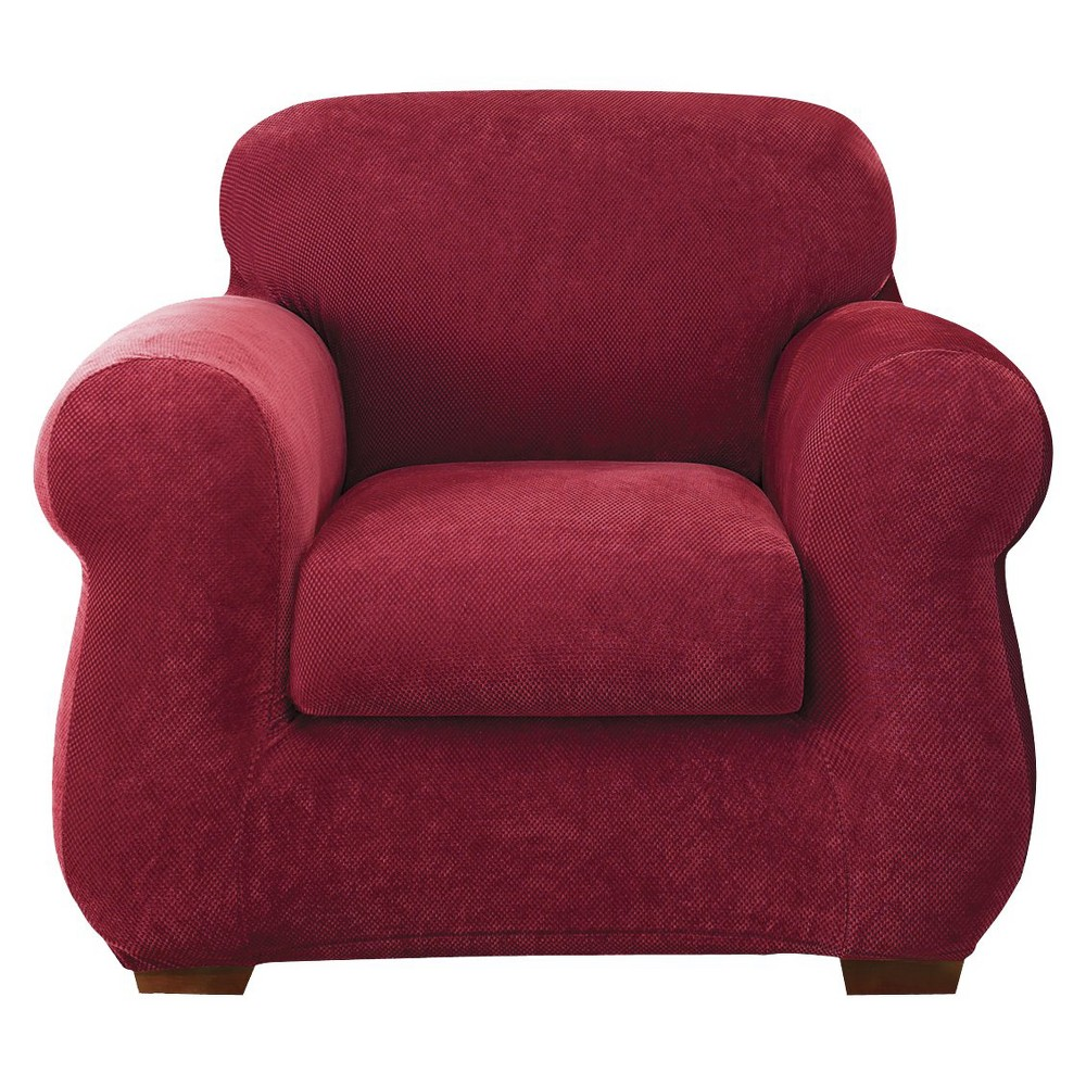 Stretch Pique 3 Piece Chair Slipcover - Sure Fit, Red