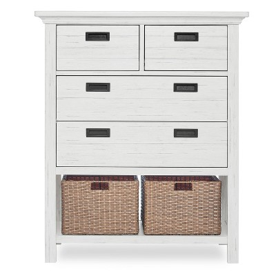 Evolur Waverly Tall Chest with Baskets - Weathered White