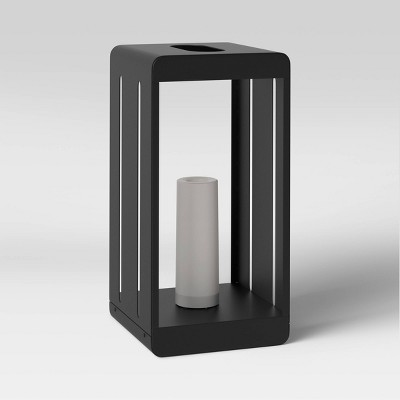 """9"""" x 18"""" Metal Flameless Candle Outdoor Lantern Black - Project 62™"""