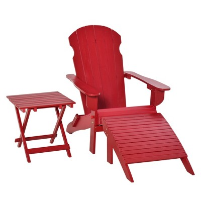 Outsunny 3-Piece Wooden Adirondack Chair Set with Comfort Ottoman & Handy Side Table with Easy Folding Design