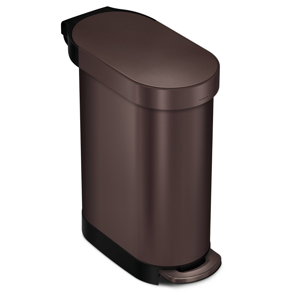 Image of simplehuman 45 ltr Slim Step Trash Can Dark Bronze Stainless Steel