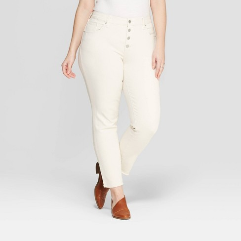 Women's Plus Size Skinny Jeans - Universal Thread™ Cream - image 1 of 3