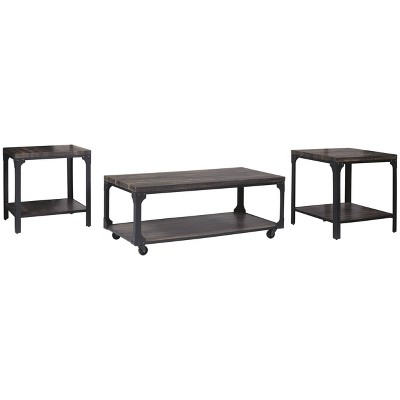3pc Jandoree Coffee and End Table Set Brown/Black - Signature Design by Ashley
