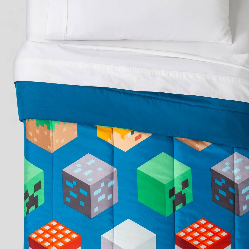 Image of Minecraft Full Isometric Comforter Blue
