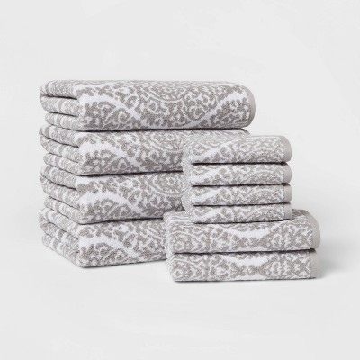 10pk Bath Towel Set Gray Ogee - Threshold™