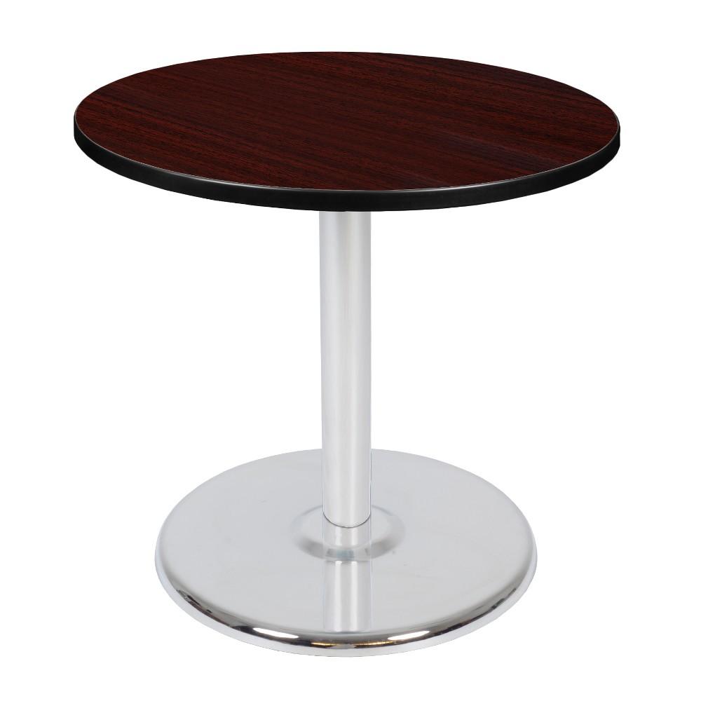 30 Via Round Platter Base Table Mahogany/Chrome (Brown/Grey) - Regency