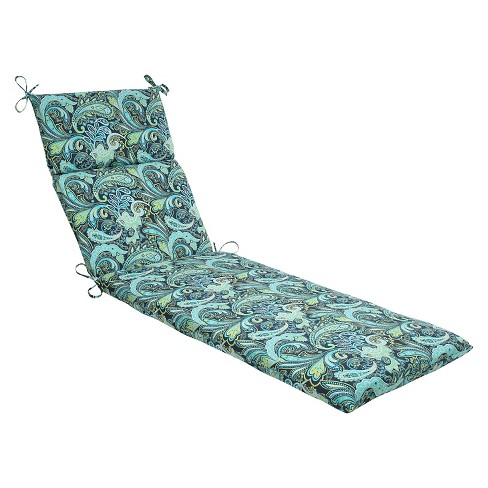 Pillow Perfect Outdoor One Piece Seat And Back Cushion - Blue/Green - image 1 of 1