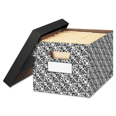Bankers Box STOR/FILE Decorative Medium-Duty Storage Boxes Letter/Lgl Black/White Brocade 0022705