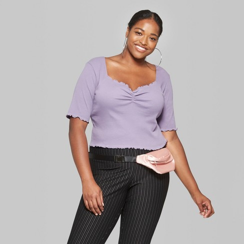 1a1cb8a42ae Women s Plus Size 3 4 Sleeve Crop Top - Wild Fable™ Violet   Target