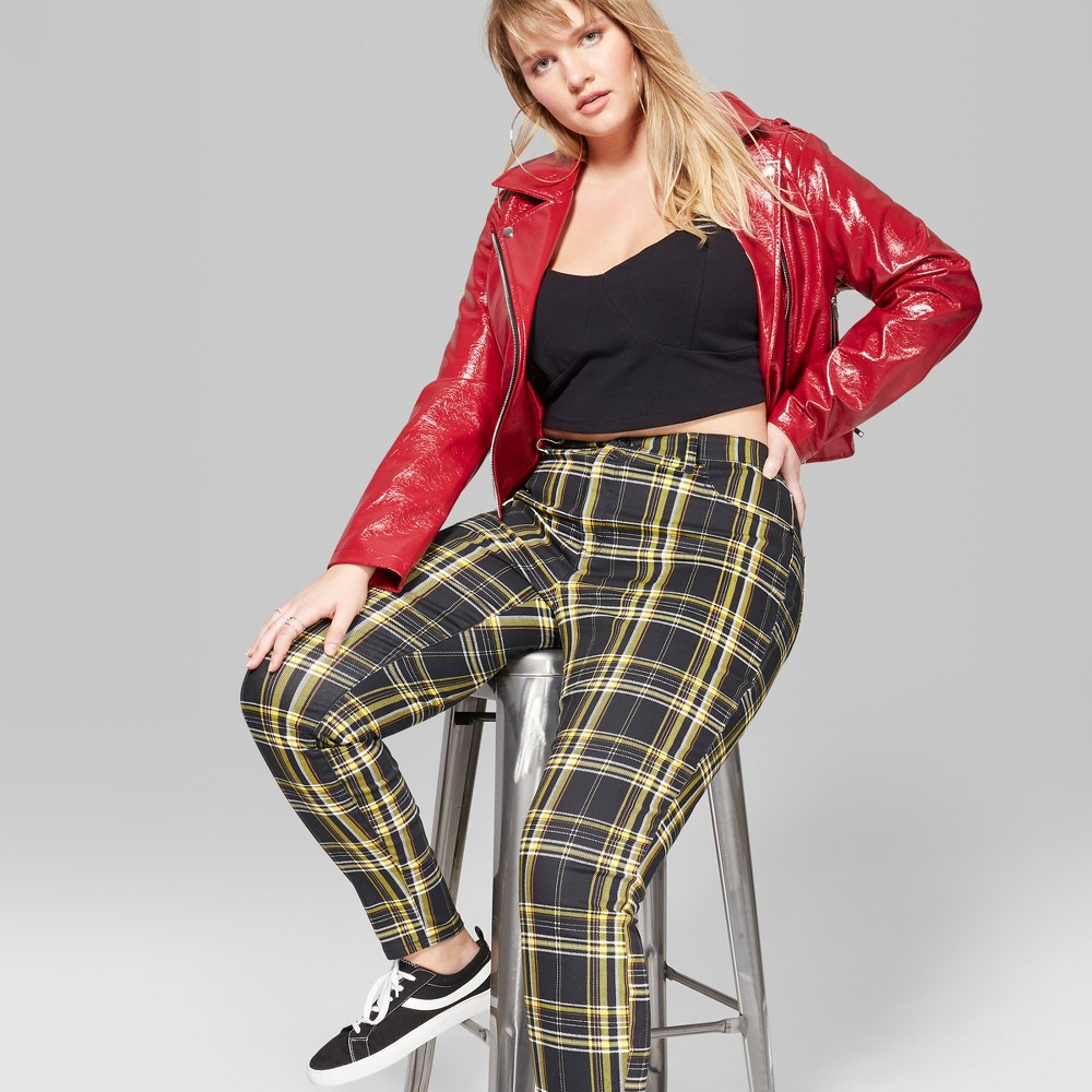 Women's Plus Size Plaid Mid-Rise Skinny Jeans - Wild Fable Black/Yellow 26W