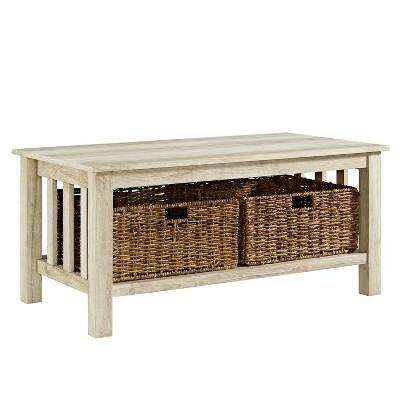 40  Wood Storage Coffee Table with Totes White Oak - Saracina Home