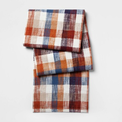 72 X14  Plaid Table Runner Cream - Threshold™