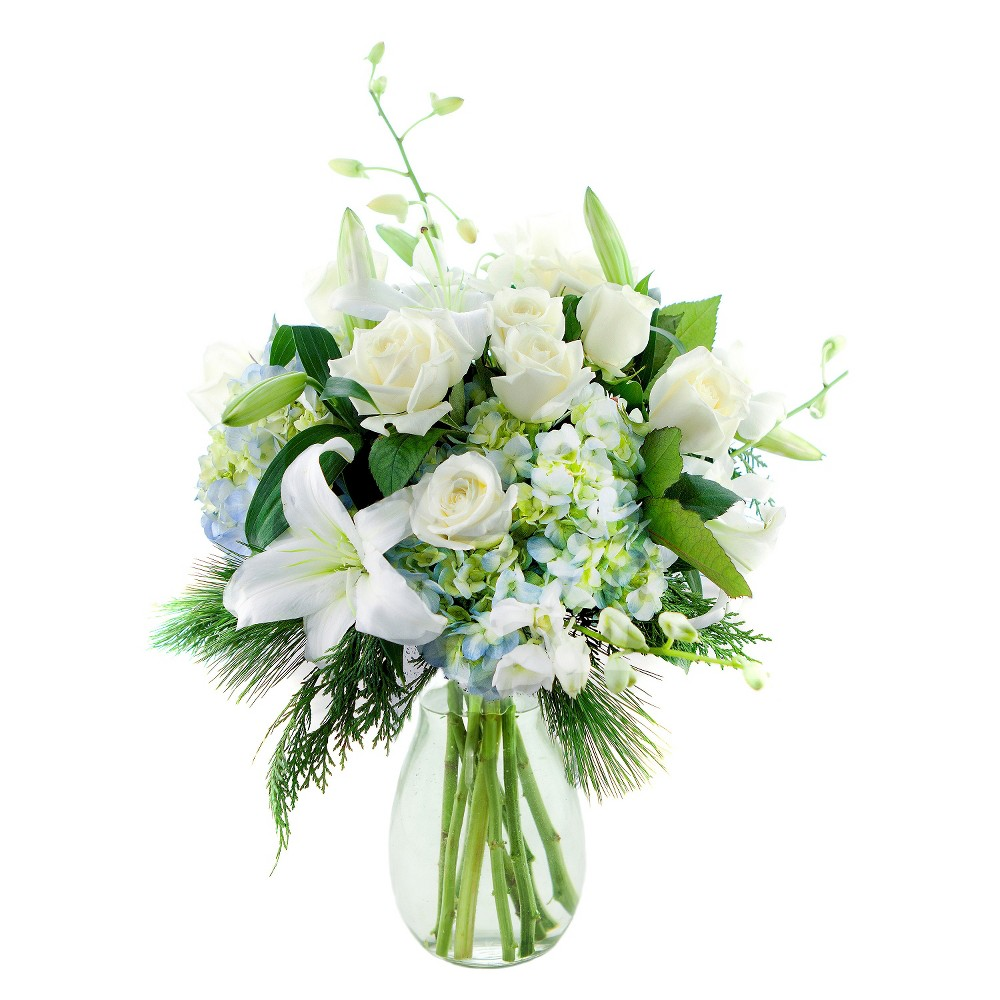 KaBloom Winter's Majesty Roses and Lilies Fresh Flower Arrangement - with Vase