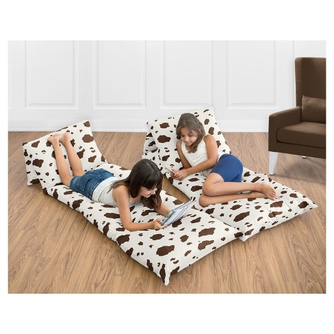 Brown & White Spotted Floor Pillow Lounger Cover (Pillows Not Included) - Sweet Jojo Designs - image 1 of 3