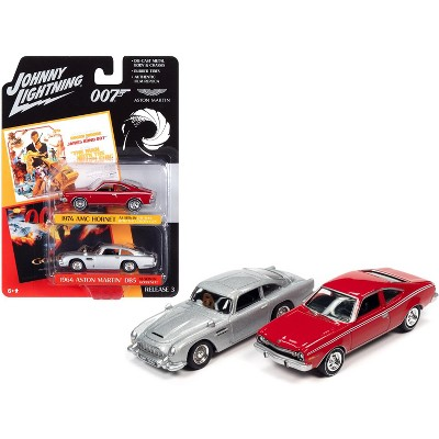 1974 AMC Hornet Red and 1964 Aston Martin DB5 (RHD) Silver (James Bond 007) Set of 2 Cars 1/64 Diecast Modes by Johnny Lightning