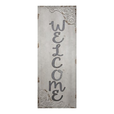 """18"""" x 48"""" Welcome Rustic Wooden Wall Plaque Sign White - American Art Decor"""