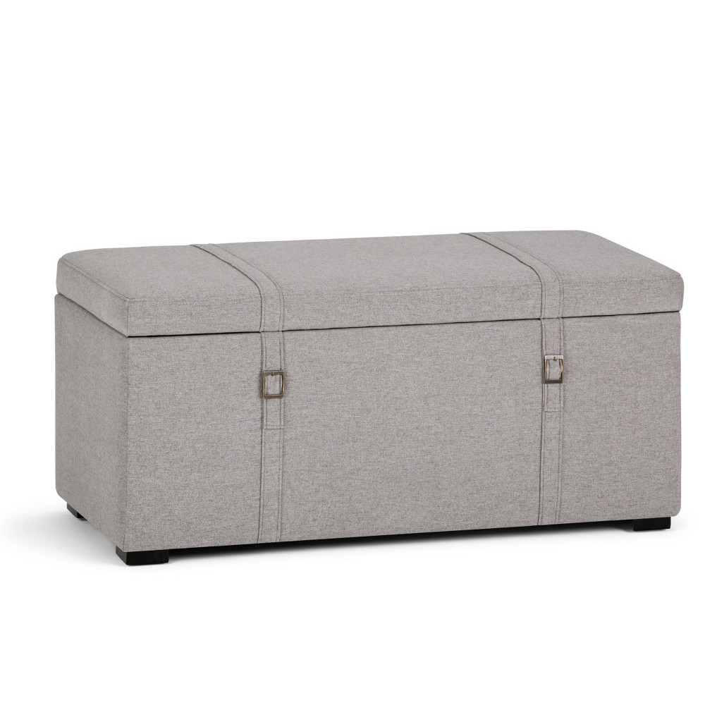 Best Price Waterford 5pc Storage Ottoman Cloud Gray Linen Look Fabric Wyndenhall Cloudy Gray