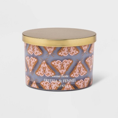 15oz Lidded Glass Jar Butterfly Print 3-Wick Candle Freesia and Fennel - Opalhouse™