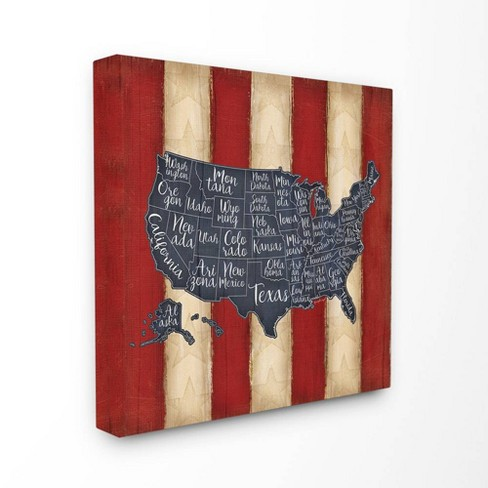 United States Map Red White Blue Stretched Canvas Wall Art - Stupell Industries - image 1 of 1