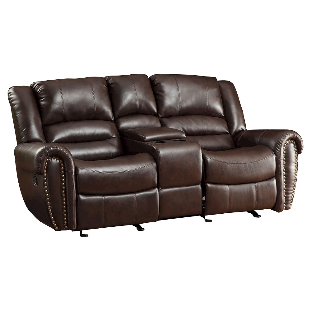 Stratford Nailhead Accent Double Reclining Loveseat - Brown