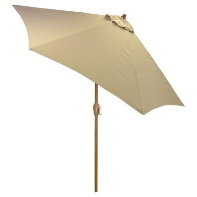 9' Round Umbrella - Tan - Wood Pole - Threshold™
