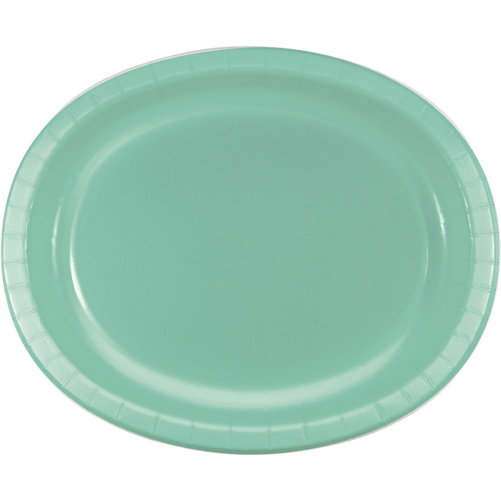 24ct Fresh Mint Green Oval Plates Green