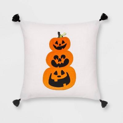 Velvet Applique Pumpkin Square Throw Pillow White/Orange - Hyde & EEK! Boutique™