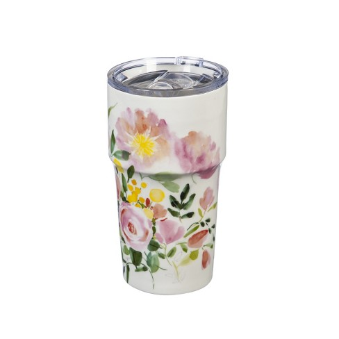 Cypress Home Double Wall Ceramic Companion Cup With With Tritan Lid 13 Oz Happy Life Target
