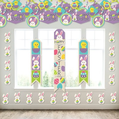Big Dot of Happiness Hippity Hoppity - Wall and Door Hanging Decor - Easter Bunny Party Room Decoration Kit