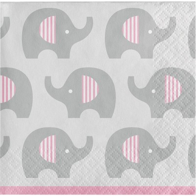 48ct Little Peanut Girl Elephant Beverage Napkins Pink