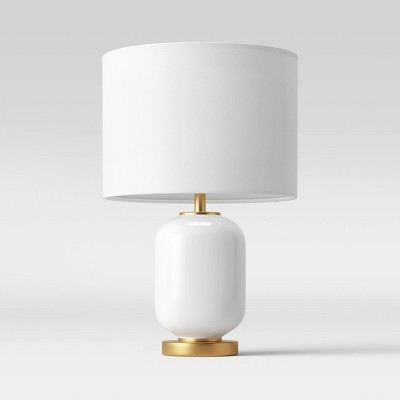 Large Assembled Rounded Cylinder Glass Table Lamp (Includes LED Light Bulb) White - Project 62™