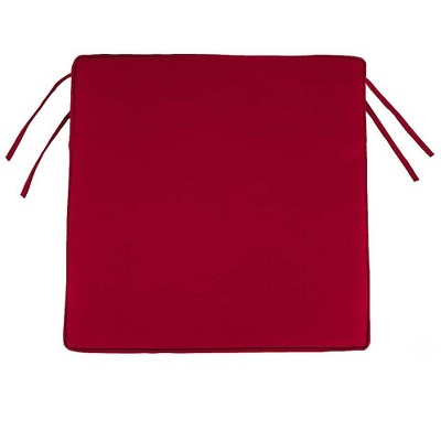 """Plow & Hearth - Polyester Classic Outdoor Chair Cushions with Ties, 18.5""""x 16.5""""x 3"""", Barn Red"""