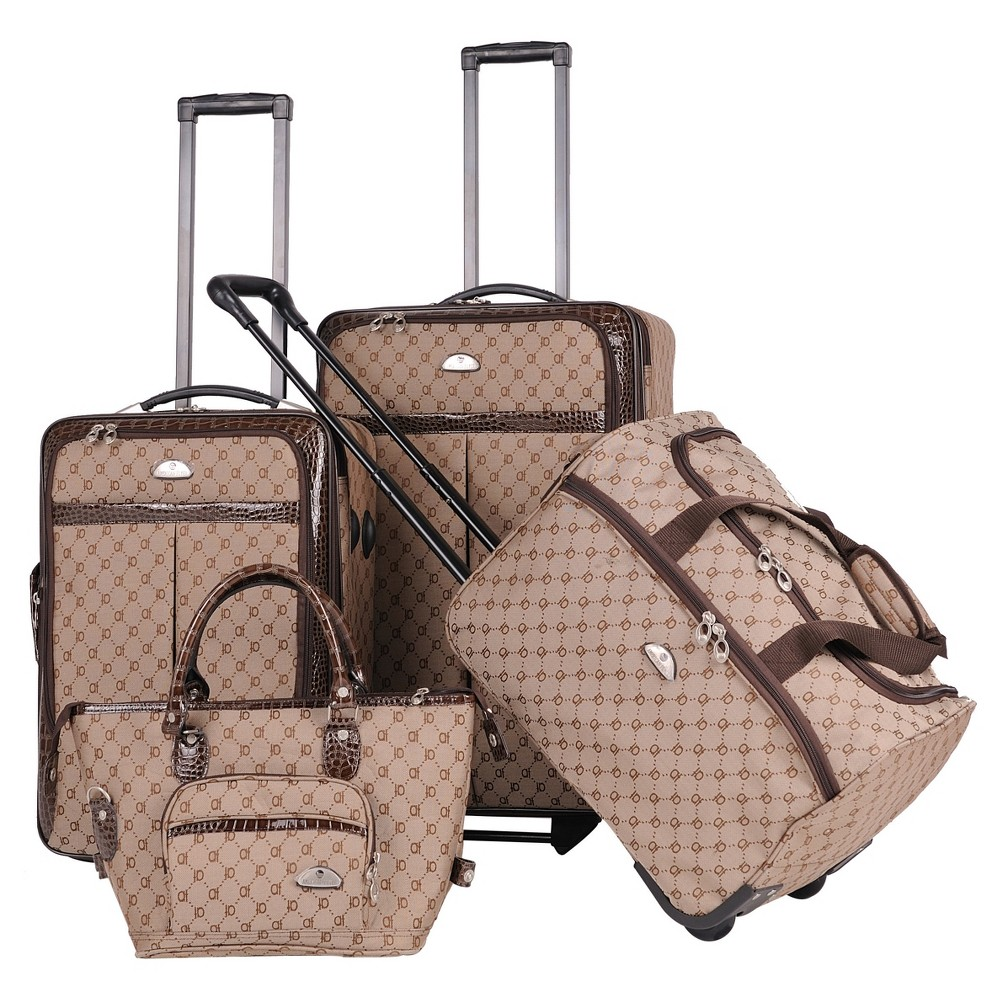 Image of American Flyer Signature 4pc Softside Luggage Set - Brown
