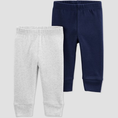 Baby Boys' 2pk Solid Pull-On Pants - Just One You® made by carter's Gray/Blue Newborn