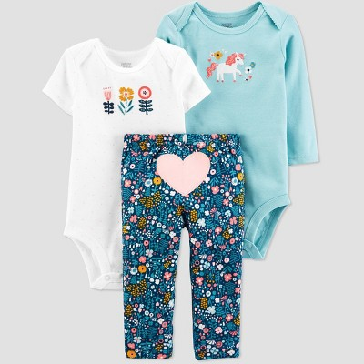 Baby Girls' Unicorn Top & Bottom Set - Just One You® made by carter's Blue 3M