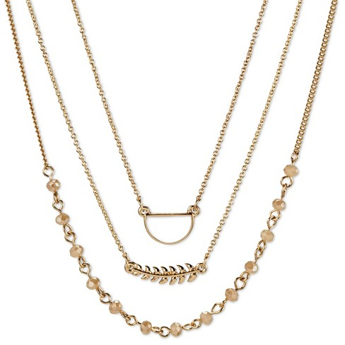 "Women's Set of 3 Chokers with Leaf, Beads, and Chain - White/Gold (12"") - image 1 of 2"