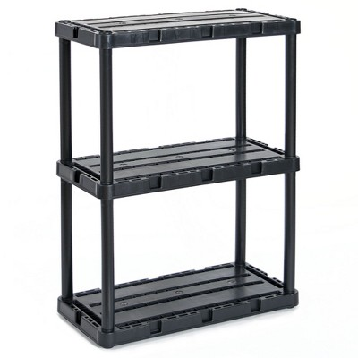 Gracious Living 91082-1C 24 x 12 x 33 Inch Knect A Shelf Fixed Height Light Duty Interlocking Home Garage Storage 3 Shelf Shelving Unit, Black