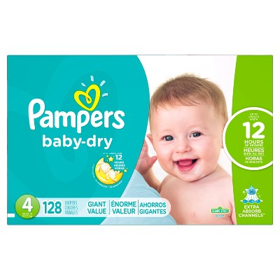 Pampers Baby Dry Diapers, Giant Pack - Size 4 (128 ct)