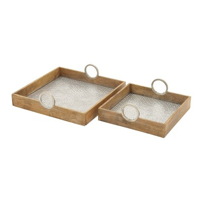 Set of 2 Farmhouse Mango Wood and Metal Dimple Trays Brown - Olivia & May
