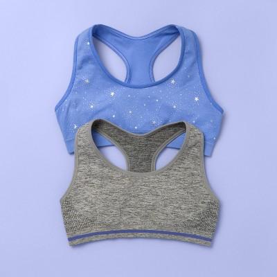 Girls' 2pk Sports Bra - More Than Magic™ Blue/Gray