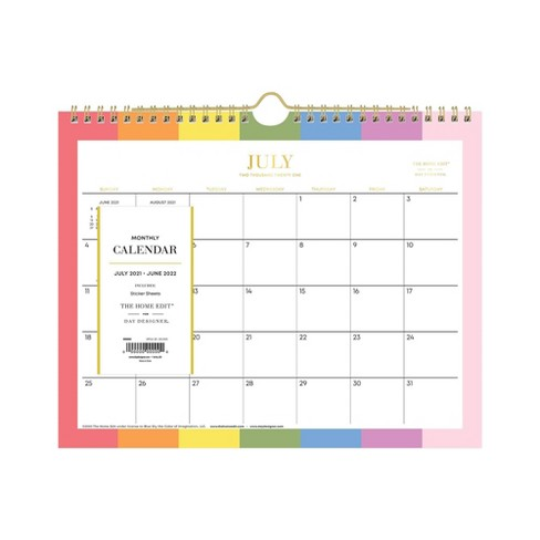 """2021-22 Academic Wall Calendar 11""""x8.75"""" Monthly Wirebound Over the Rainbow - The Home Edit - image 1 of 4"""