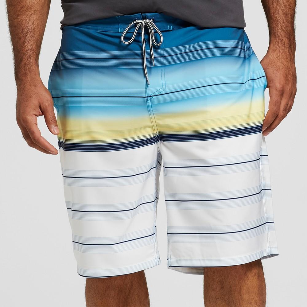 Men's Big & Tall Striped 10 Rapido Board Shorts - Goodfellow & Co Deep Blue 60
