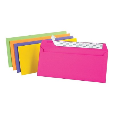 """MyOfficeInnovations EasyClose Neon Color Envelopes #10 Assorted 4 1/8""""H x 9 1/2""""W 50/PK 122725"""