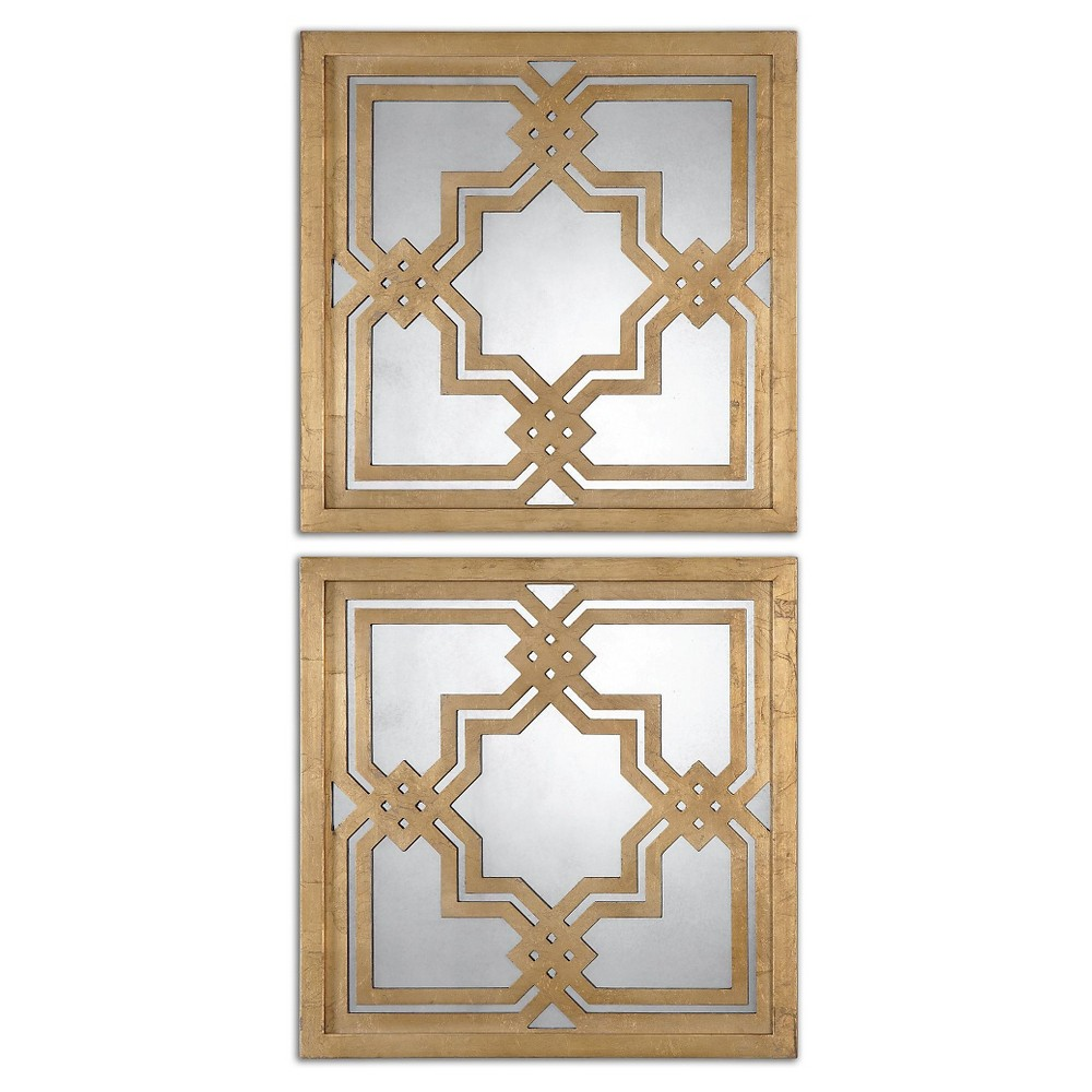 Square Piazzale Gold Square Mirror Set of 2 Gold - Uttermost, Antique Gold