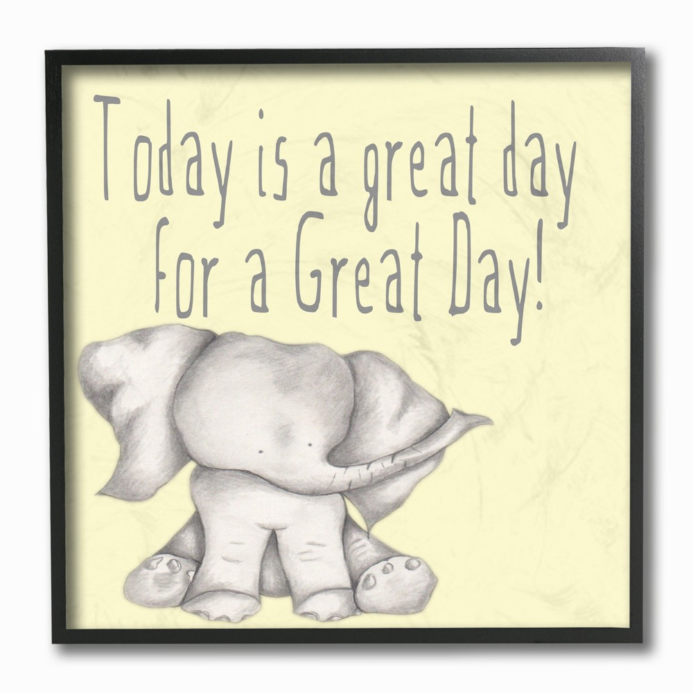 Today is a Great Day Elephant Framed Giclee Texturized Art (12