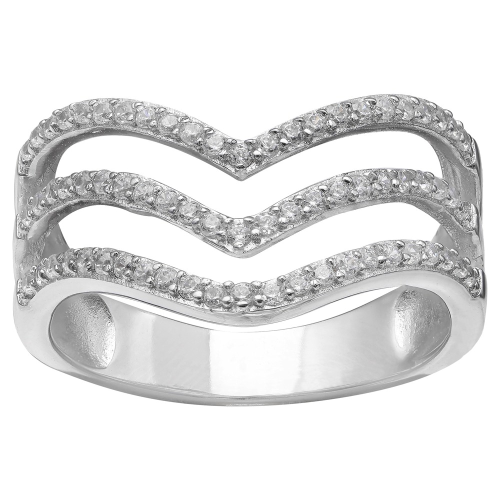 Women's Pave Cubic Zirconia Triple V Ring in Sterling Silver Size - Clear/Gray (Size 8), Silver Clear