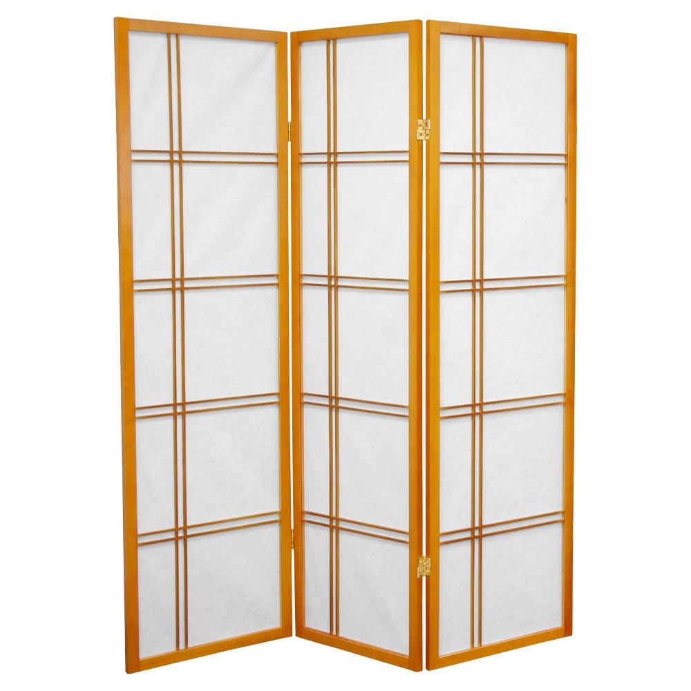 5 ft. Tall Double Cross Shoji Screen - Honey (3 Panels) - Oriental Furniture, Pumpkin