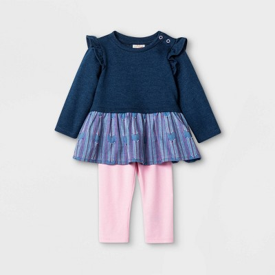Baby Girls' Clipspot Heart Tunic Top & Bottom Set - Cat & Jack™ Pink 3-6M