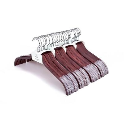 StorageWorks 24pk Wood Laminate Premium Hangers with Soft Non-slip Shoulder Grips