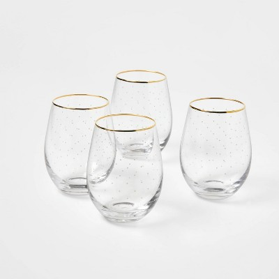 Glass with White Dot Stemless Wine Glasses Set of 4 - Sugar Paper™